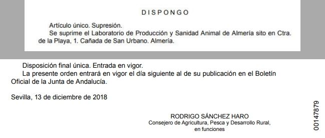 Sánchez Haro deja a Almería sin Laboratorio de Sanidad Animal