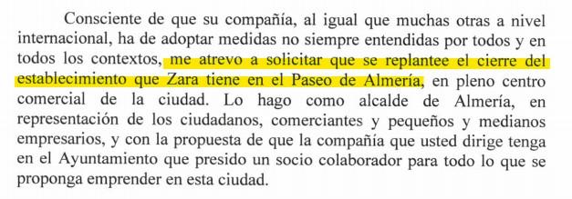 El alcalde pide a Inditex que no cierre Zara del Paseo de Almería