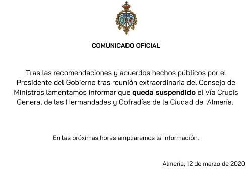 Suspendido el Via Crucis General de Hermandades y Cofradías del viernes por coronavirus