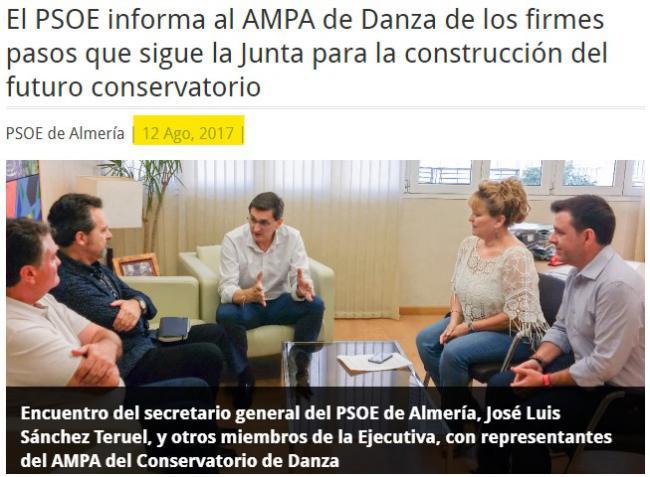 El PSOE confirmó su 'compromiso' con el Conservatorio de Danza en 2017 y critica ahora a la Junta