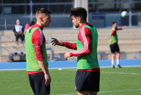 Corpas y Francis entrenaron con el grupo pensando en el Huelva