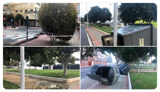 Los servicios municipales ya están arreglando los daños causados por el viento