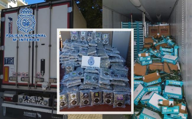 Intervenido un camión con 200 Kg. de cogollos de marihuana envasados al vacio