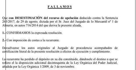 Juzgado de Almería condena a Unciaja Banco a devolver lo cobrado por la cláusula suelo