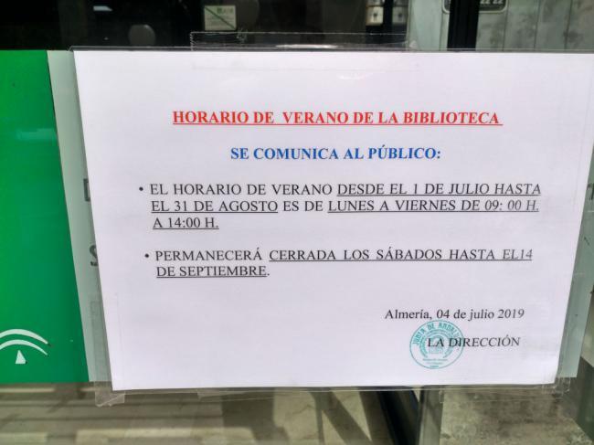 IU lamenta el cierre por las tardes de la Biblioteca Villaespesa