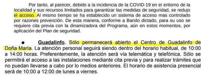 El Ayuntamiento de Las Tres Villas cierra el Guadalinfo pero le dice al Defensor del Pueblo que está abierto