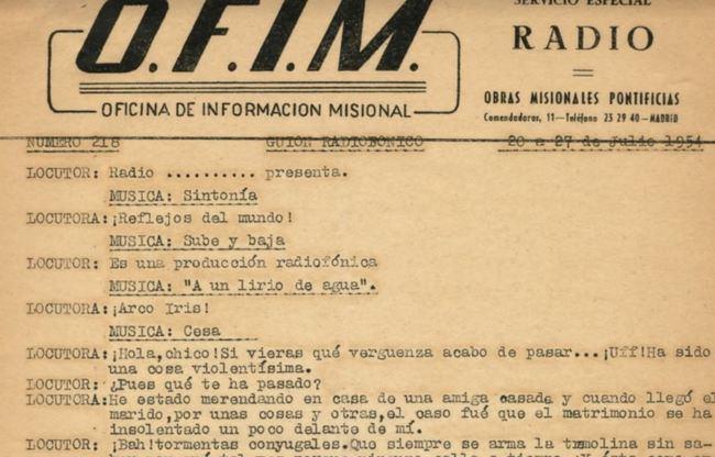 """Un guion radiofónico de 1954 es el """"Documento del mes"""""""