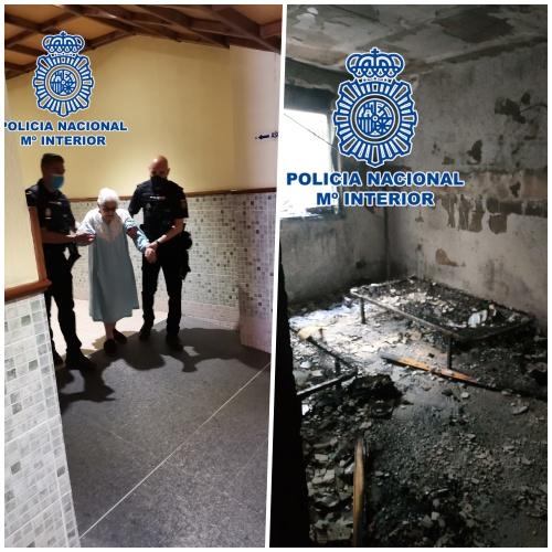 La Policía Nacional ha desalojado un edificio en llamas en El Ejido