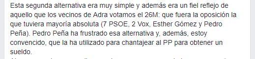 Exalcalde socialista de Adra pide un pacto con Vox