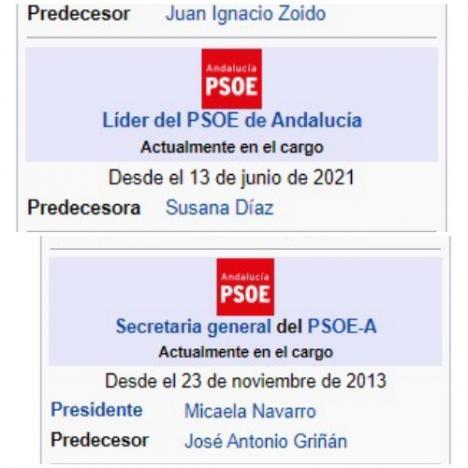 Espadas fulmina en la Wikipedia a Susana Díaz