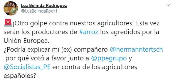 Luz Belinda crítica a su excompañero Tersch (Vox) por 'votar contra los agricultores españoles'