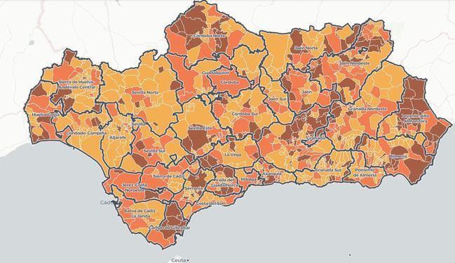Tasa de incidencia covid-19 municipio a municipio en Almería