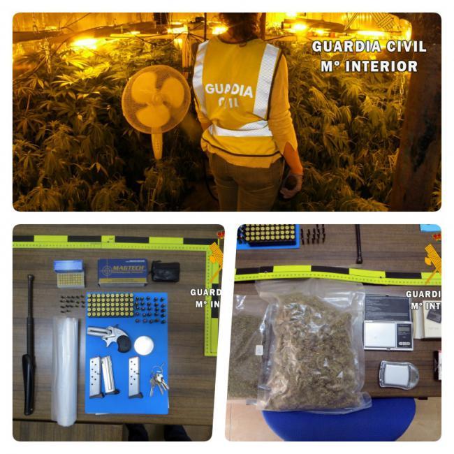 """La protección de Guardia Civil a una víctima de violencia machista destapa un depósito de armas y 144 plantas de marihuana """"in door"""""""