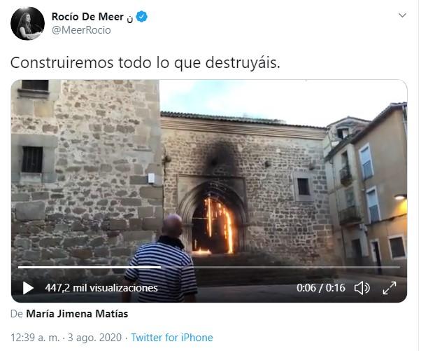 Rocio de Meer se hace trending topic por su tuit sobre el incendio de la iglesia de Plasencia