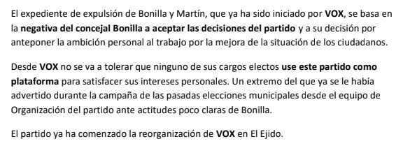 Vox expulsa a dos ediles de El Ejido por 'apropiarse del cargo'