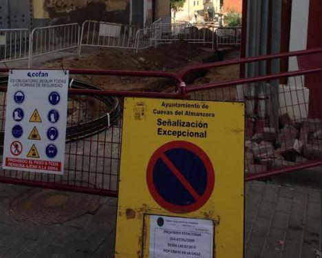 Obras en la calle San Sebastián de Cuevas