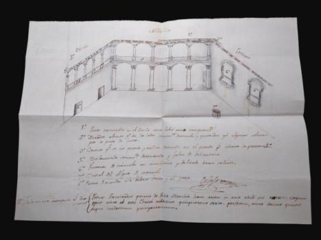 Descubren un croquis inédito sobre el estado del Patio del Castillo de Vélez-Blanco de principios del siglo XIX