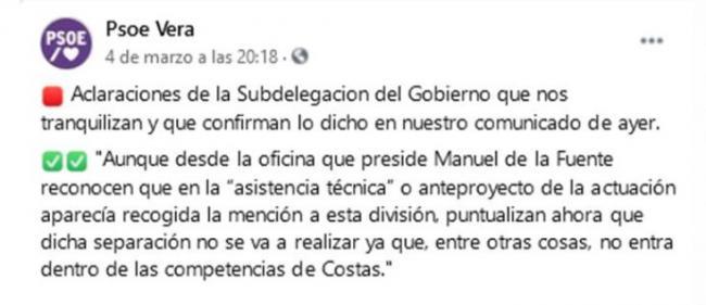 El PSOE reconoce su error al criticar la regeneración de la playa de Vera