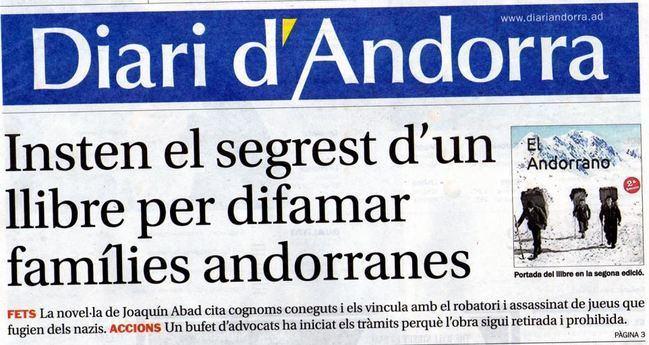Diari d`Andorra dedica su portada al último libro de Joaquín Abad