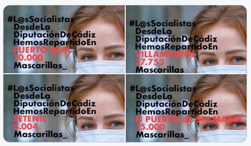 El PSOE de Cádiz se 'apropia' de las mascarillas del #COVID19