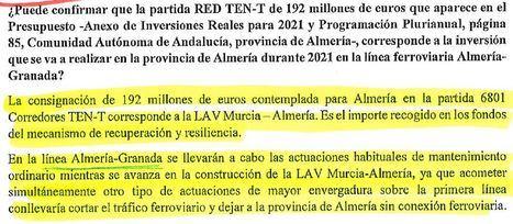 El Gobierno abandona la conexión de Alta Velocidad entre Almería y Granada