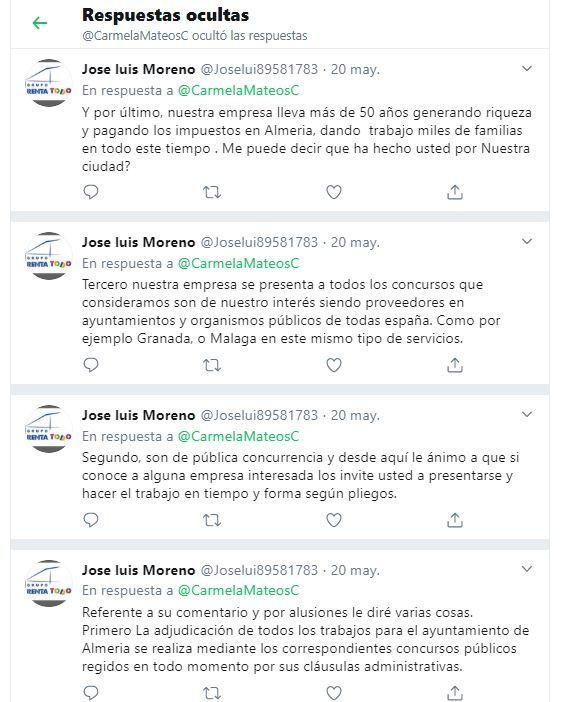 La edil de Podemos oculta la respuesta de un empresario a quien pone en la picota