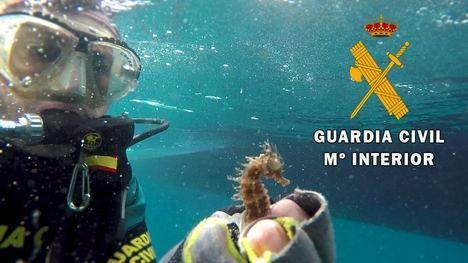 La Guardia Civil retira una red de pesca de 30 metros sumergida en Vela Blanca