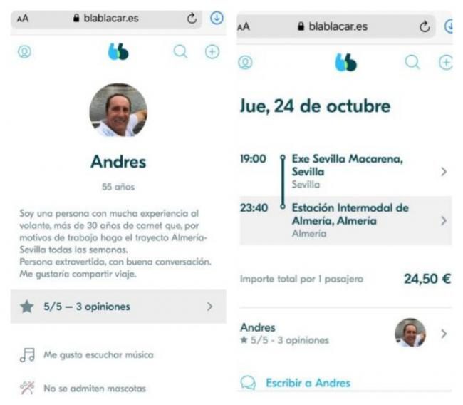 El Parlamento le paga a Samper (Cs) los viajes a Sevilla y él los 'revende' en Bla Bla Car
