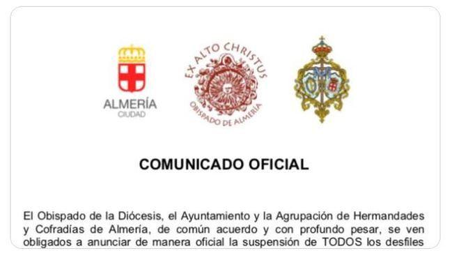 Suspendida la Semana Santa en Almería