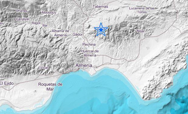 Seísmo de magnitud 2,9 con epicentro al noreste de Pechina