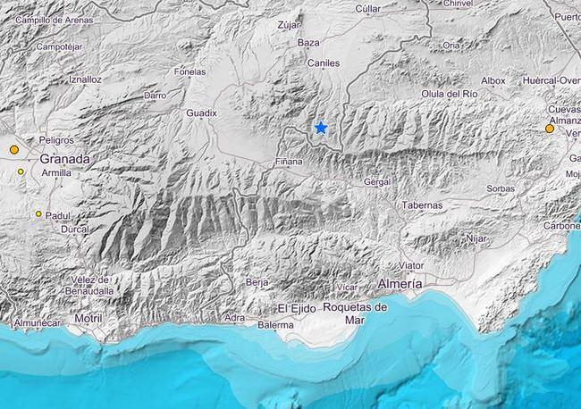 Registrado un terremoto de magnitud 3,1 con epicentro al suroeste de Antas