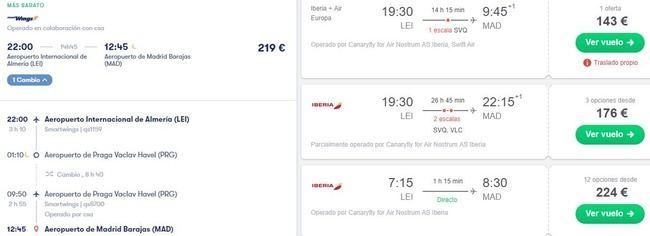 Volar de Almería a Madrid no es caro... si no tienes prisa