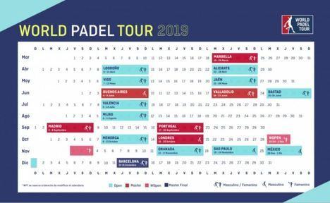 Así será el circuito 2019 del World Padel Tour